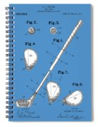 Golf Club Patent Drawing Blue Spiral Notebook