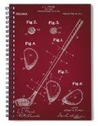 Golf Club Patent Drawing Dark Red Spiral Notebook