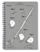 Golf Club Patent Drawing Grey Spiral Notebook