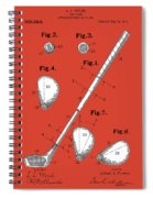 Golf Club Patent Drawing Red Spiral Notebook