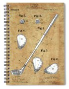 Golf Club Patent Drawing Vintage Spiral Notebook