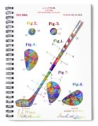 Golf Club Patent Drawing Watercolor Spiral Notebook