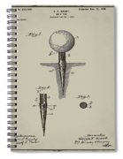 Golf Tee Patent 1899 Aged Gray Spiral Notebook