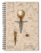 Golf Tee Patent Drawing Sepia Spiral Notebook