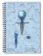 Golf Tee Patent Drawing Watercolor Spiral Notebook