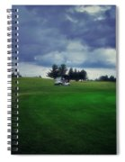 Golfing Before The Rain Golf Cart 01 Spiral Notebook