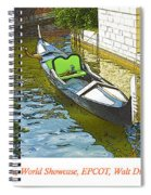 Gondola Boat, Venice, Italy, World Showcase, Epcot, Walt Disney  Spiral Notebook