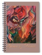Grace And Desire - Floral Abstract With Border And Title Spiral Notebook