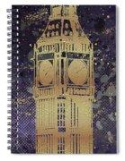 Graphic Art London Big Ben - Ultraviolet And Golden Spiral Notebook