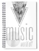Graphic Art Silver Music On - World Off Spiral Notebook