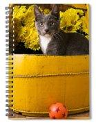 Gray Kitten In Yellow Bucket Spiral Notebook