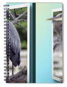 Great Blue Heron - Gently Cross Your Eyes And Focus On The Middle Image Spiral Notebook