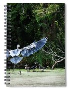 Great Blue Heron And Wood Ducks Spiral Notebook