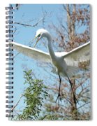 Great Egret Over The Treetops Spiral Notebook