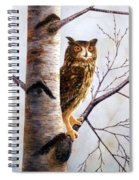 Great Horned Owl In Birch Spiral Notebook