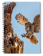 Great Horned Owl Returning To Her Nest Spiral Notebook