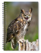 Great Horned Owl Screeching Spiral Notebook