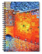 Wailing Wall Greatness In The Evening Jerusalem Palette Knife Painting Spiral Notebook