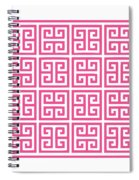 Greek Key With Border In French Pink Spiral Notebook