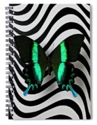 Green And Black Butterfly On Wavey Lines Spiral Notebook