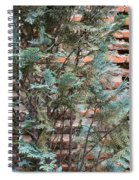 Green And Red - Cypress Branches Over Antique Roman Brick Wall Spiral Notebook