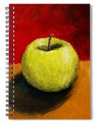 Green Apple With Red And Gold Spiral Notebook
