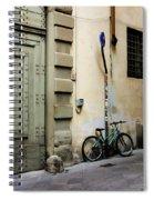 Green Bike And Door Spiral Notebook