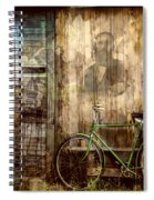 Green Bike Crooked Door Spiral Notebook