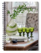 Green Decor Dinning Table Place Settings Spiral Notebook