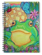 Green Frog With Flowers And Mushrooms Spiral Notebook