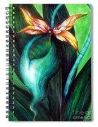 Green Golden Exotic Orchid Flower Spiral Notebook