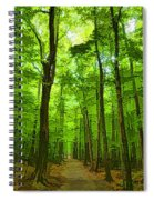 Green Light Harmony - Walking Through The Summer Forest Spiral Notebook