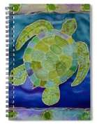 Green Sea Turtle Silk Painting Spiral Notebook