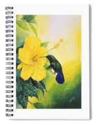 Green-throated Carib Hummingbird And Yellow Hibiscus Spiral Notebook