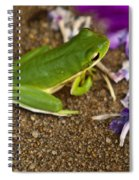 Green Tree Frog And Flowers Spiral Notebook