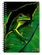 Green Tree Frog And Leaf Spiral Notebook
