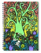 Green Tree With Purple Tulips Spiral Notebook