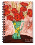 Green Vase And Poppies Spiral Notebook