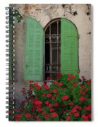 Green Windows And Red Geranium Flowers Spiral Notebook