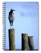 Grey Heron On A Pole Spiral Notebook