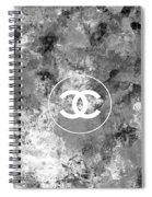 Grey White Black Chanel Logo Print Spiral Notebook