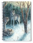 Grey Wolves At Dawn Spiral Notebook