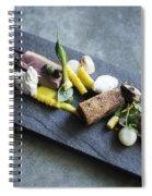 Grilled Pork Sour Cream And Vegetables On Modern Grey Slate Spiral Notebook