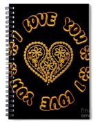 Groovy Golden Heart And I Love You Spiral Notebook