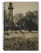 Grosse Point Lighthouse Sepia Spiral Notebook