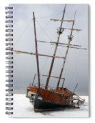 Grounded Ship In Frozen Water Spiral Notebook