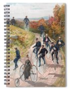 Group Riding Penny Farthing Bicycles Spiral Notebook