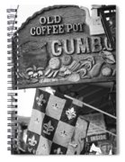Gumbo Sign - Black And White Spiral Notebook