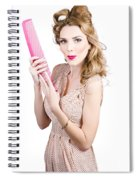 Hair Style Model. Pinup Girl With Large Pink Comb Spiral Notebook