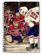 Halak Blocks Backstrom In Stanley Cup Playoffs 2010 Spiral Notebook
